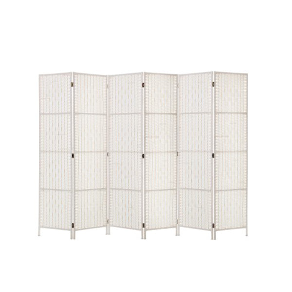 Artiss 6 Panel Room Divider Rattan Timber Fold Woven Stand White