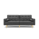 1950Mm 3 Seater Sofa Bed Recliner Lounge Tufted Plush Fabric Dark Grey