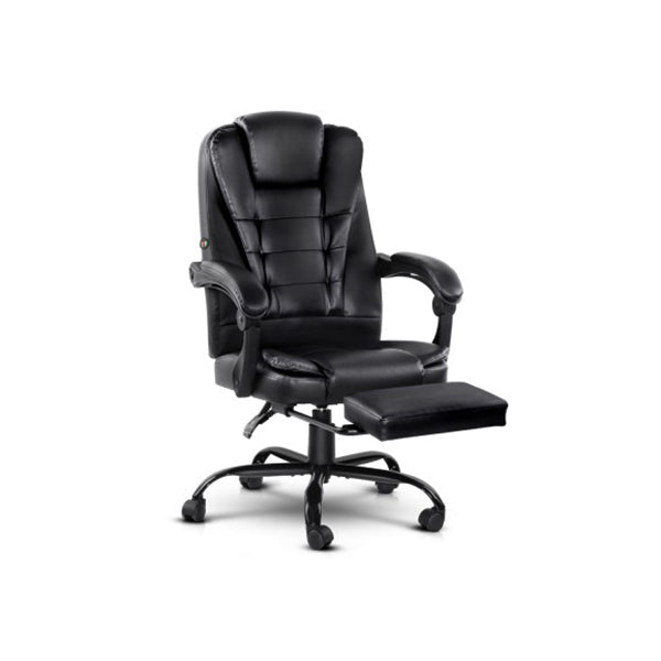 Electric Massage Office Chairs Recliner Footrest Black