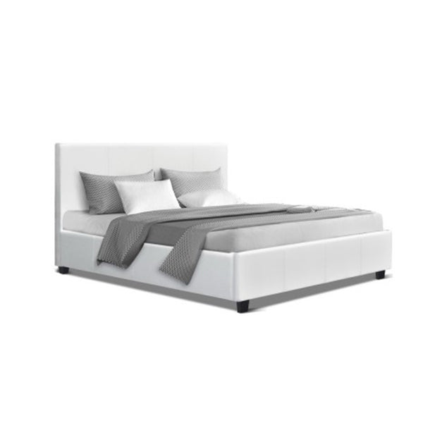 Bed Frame Base Mattress Platform White Leather Wooden Neo