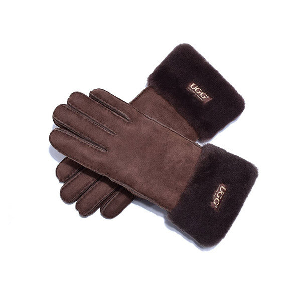 UGG Sheepskin Leather Suede Button Gloves Chocolate Womens
