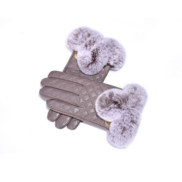 UGG Sheepskin Leather Fur Trim Gloves Grey Womens (Carrie)