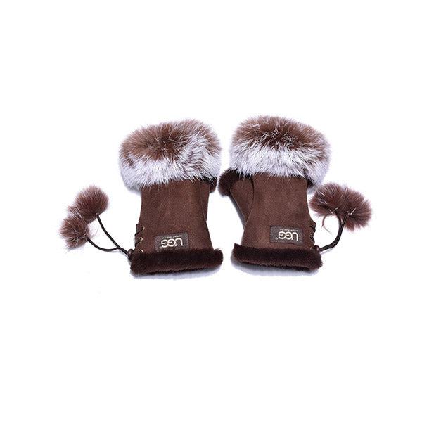 UGG Fingerless Sheepskin Leather Gloves Chocolate Womens (Cindy)