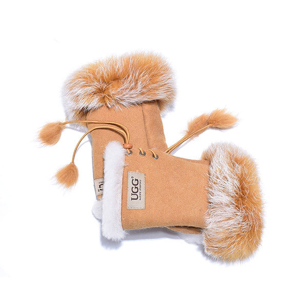 UGG Fingerless Sheepskin Leather Gloves Chestnut Womens Cindy