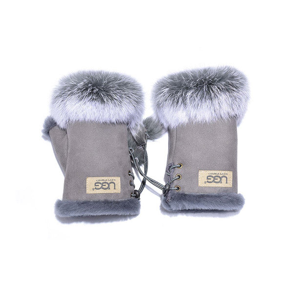 UGG Fingerless Sheepskin Leather Gloves Grey Womens Cindy