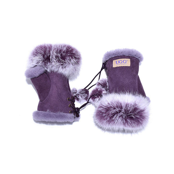 UGG Fingerless Sheepskin Leather Gloves Purple Womens Cindy