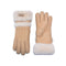 UGG Sheepskin Leather Double Cuff Gloves Chestnut Womens Cora