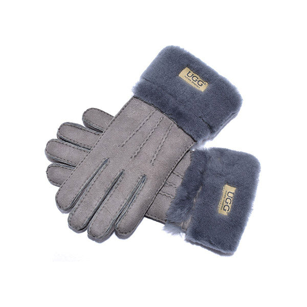 UGG Sheepskin Leather Double Cuff Gloves Grey Womens Cora