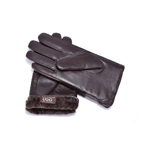 UGG Sheepskin Leather Gloves Chocolate Men's Cole