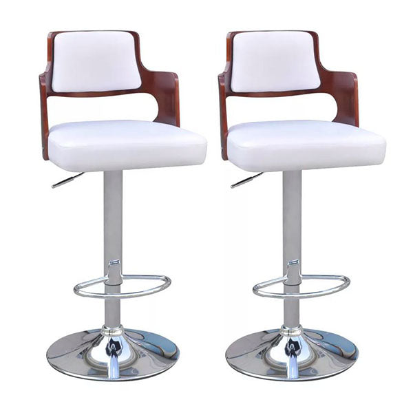Bar Stools 2 Pcs White Faux Leather