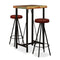 3 Piece Bar Set Solid Reclaimed Wood And Genuine Leather