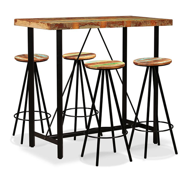 5 Piece Bar Set Solid Reclaimed Wood