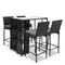 Outdoor Bar Set Table Stools Furniture Wicker 5 Pcs