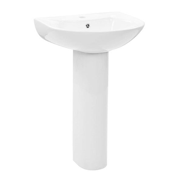 Freestanding Basin With Pedestal Ceramic White 520X440X190 Mm