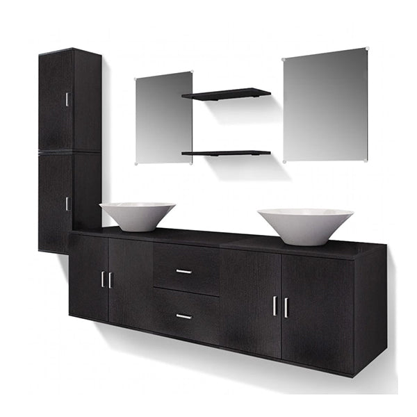 Nine Piece Bathroom Furniture And Basin Set