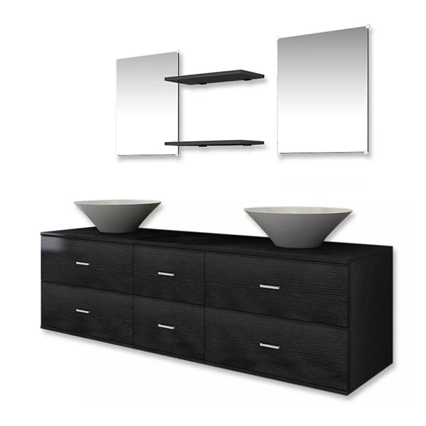 Seven Piece Bathroom Furniture And Basin Set