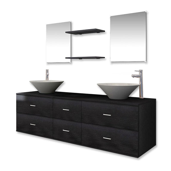 Nine Piece Bathroom Furniture Set With Basin With Tap