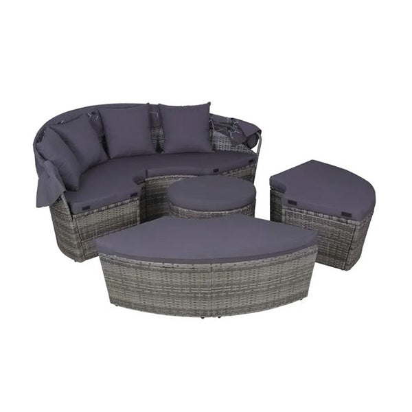 4 Piece Outdoor Lounge Set With Cushions Leds Poly Rattan Grey