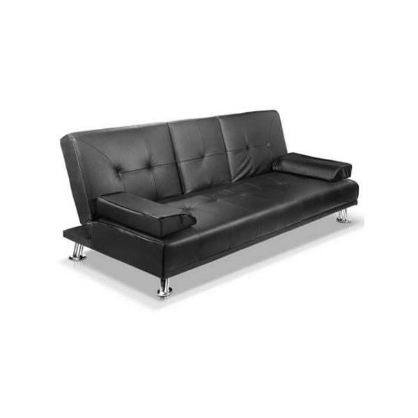 Modern PU Leather 3 Seater Sofa Bed with Cup Holders