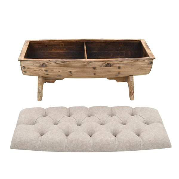 Storage Bench 103 X 51 X 44 Cm Solid Wood And Fabric