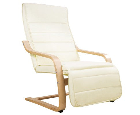 Birch Bentwood Adjustable Lounge Arm Chair With Fabric Cushion