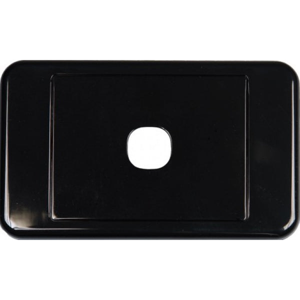 1 Way Australian Style Wall Plate Black