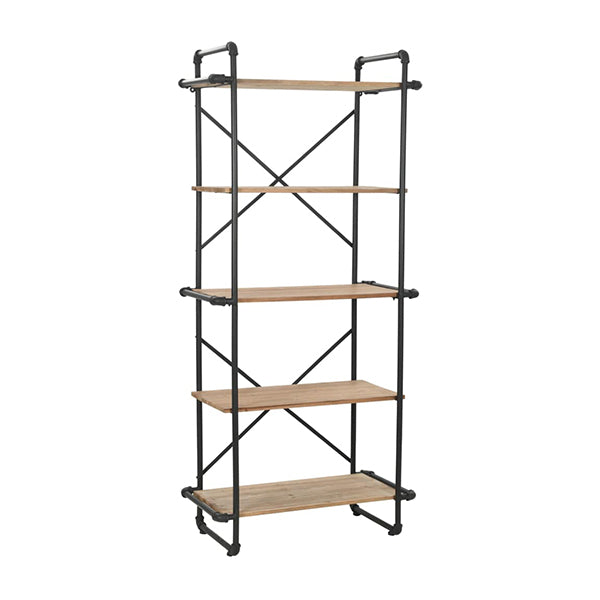 Bookcase Solid Firwood And Steel 80 X 42 X 180 Cm