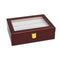 10 Grids Wooden Watch Case Glass Jewelry Storage Holder Box Wood