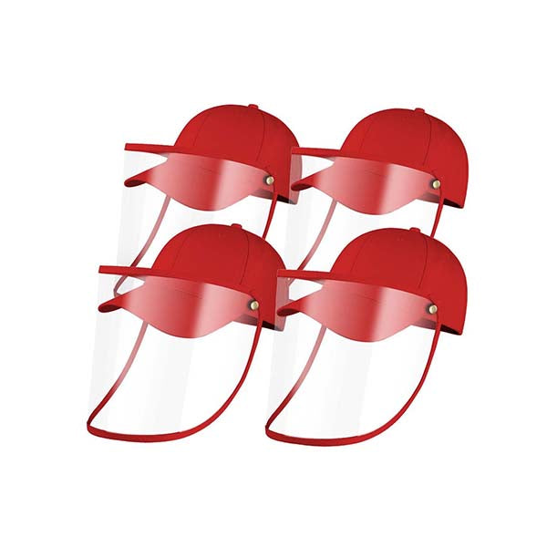 4X Outdoor Hat Anti Fog Dust Saliva Cap Face Shield Cover Kids Red