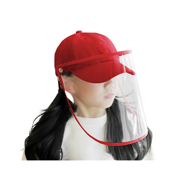 Outdoor Hat Anti Fog Dust Saliva Cap Full Face Shield Cover Kids Red