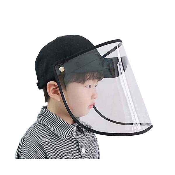 Outdoor Hat Anti Fog Dust Saliva Cap Full Face Shield Cover Kids Black
