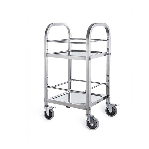 Soga 2 Tier 500X500X950 Stainless Steel Square Tube Drink Wine Cart