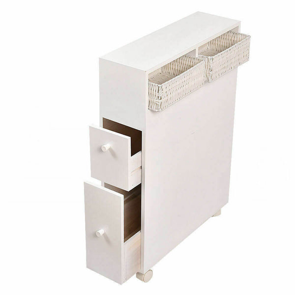 Levede Bathroom Toilet Storage Cabinet Tissue Box Holder Drawer Basket Wheels