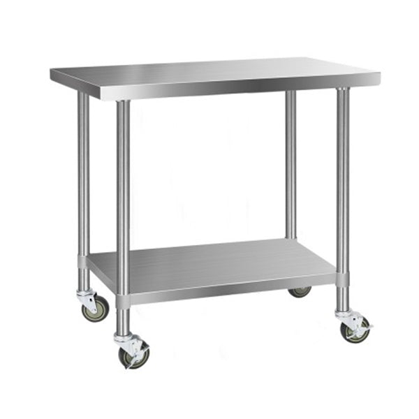 430 Stainless Steel Kitchen Work Bench Food Prep Table With Wheels