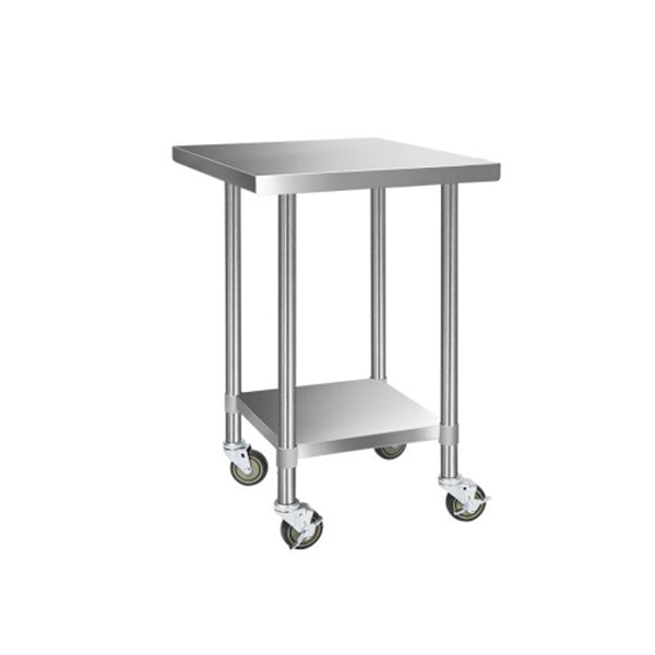 762 X 762Mm Commercial Stainless Steel Kitchen Bench W Castor Wheels