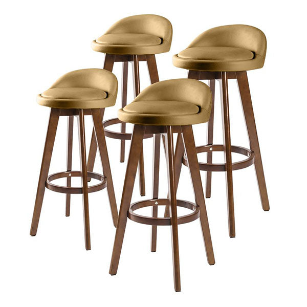 4X 72Cm Oak Wood Bar Stool Leather Leila Coffee Brown