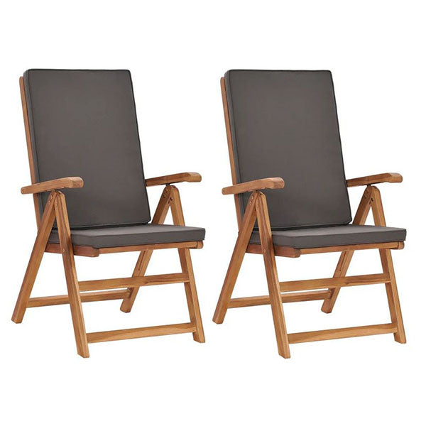 Reclining Garden Chairs With Cushions 2 Pcs Solid Teak Wood
