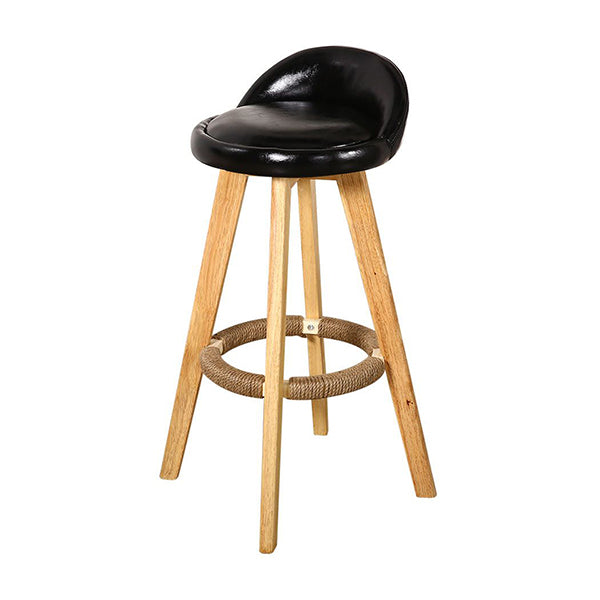 2X Levede Leather Swivel Bar Stool Kitchen Stool Dining Chair Black
