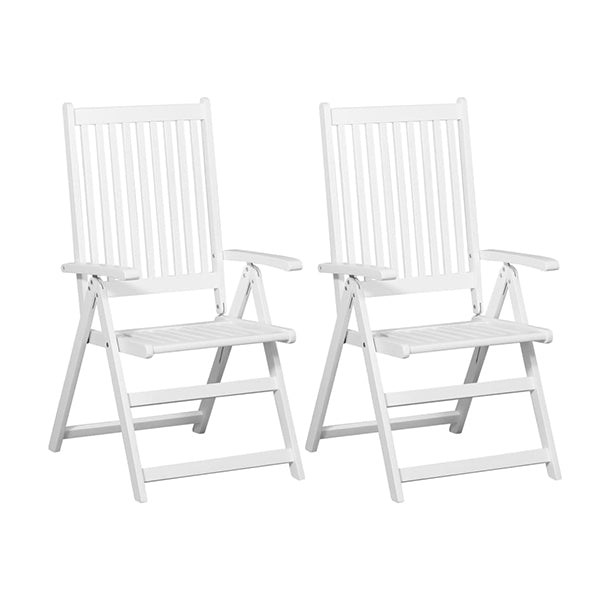Folding Dining Chairs 2 Pcs Solid Acacia Wood White