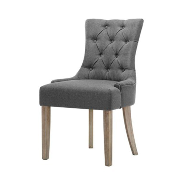 2X Dining Chair Cayes French Provincial Wooden Fabric Retro Cafe