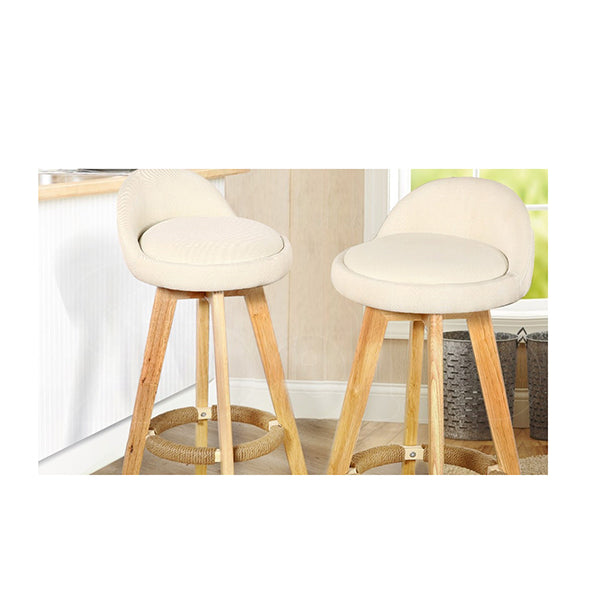 2 Pcs Wooden Bar Stools Swivel Padded Fabric Seat Dining Chairs Beige