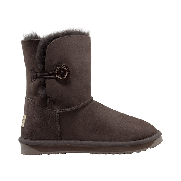 Comfort Me Australian Made Mid Bailey Button Ugg Boot Chocolate