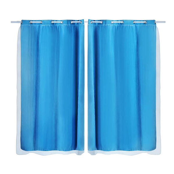 2X Blockout Curtains Panels 3 Layers With Gauze Room Darkening 140X244 Cm Aqua