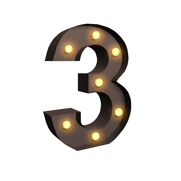Led Metal Number Lights Free Standing Hanging Marquee Event Party Decor Number 3