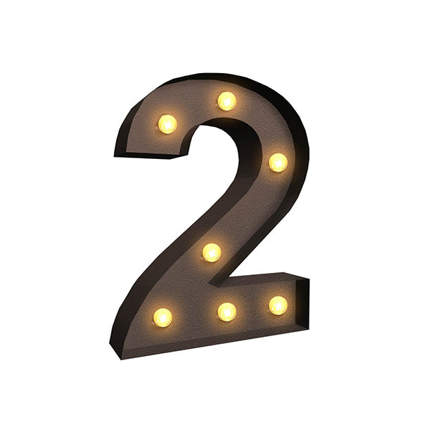 Led Metal Number Lights Free Standing Hanging Marquee Event Party Decor Number 2