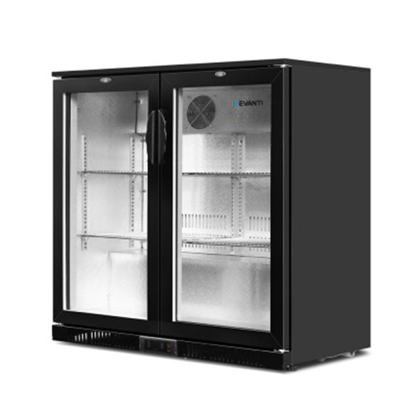 Bar Fridge 2 Glass Door Commercial Display Freezer Drink Cooler Black
