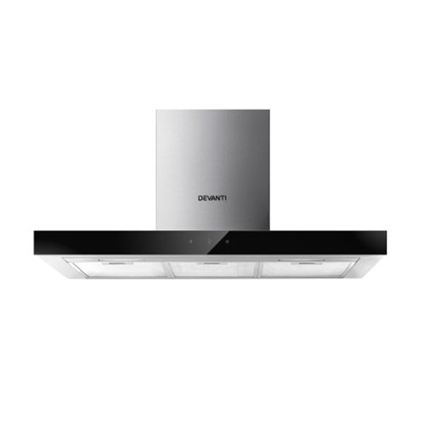 Range Hood 900 Mm 90 Cm Stainless Steel Glass Kitchen Canopy Black