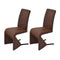 Dining Chairs 2 Pcs Brown Fabric Steel Frame