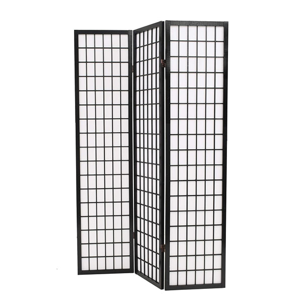 Folding 3 Panel Room Divider Japanese Style 120X170 Cm Black