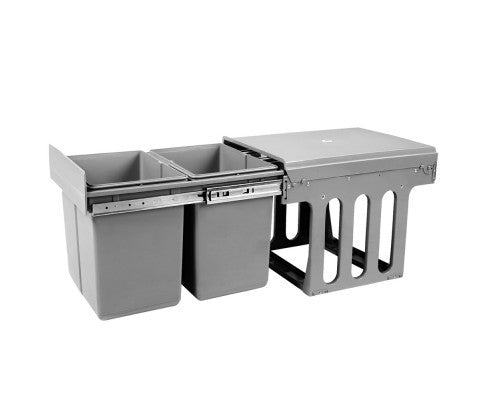 Duel Side Pull Out Rubbish Waste Basket 2 x 15L